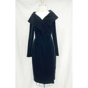 LAFAYETTE 148 Black Silk Velvet Wrap Dress